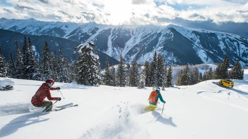 Adam Moszynski Amber Aldercotte Amie Engerbretson Darcy Conover Eddie Sciarrone Nicole Augspurger Skiing Powder While Snowcat Skiing in Aspen Colorado
