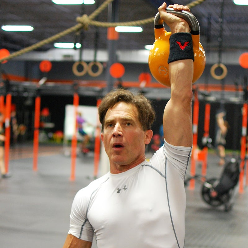 Hoffman is partial to kettlebell work, which he says strengthens his core, back, and upper body.