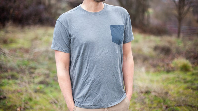 The Trew NuYarn Merino Pocket T is a hybrid—reinforcing the delicate wool with sturdier synthetics.