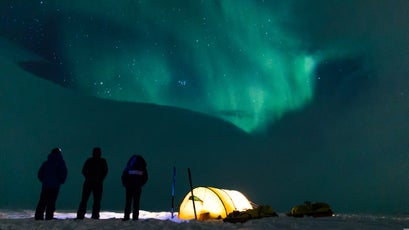 One night, the clouds broke open just in time to show off the Northern Lights before bedtime.