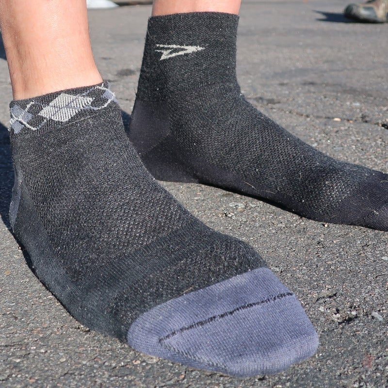 The Wooleator (and its polyester equivalent, the Aireator) has a mesh top that dissipates heat and moisture more quickly than non-mesh areas of the sock.
