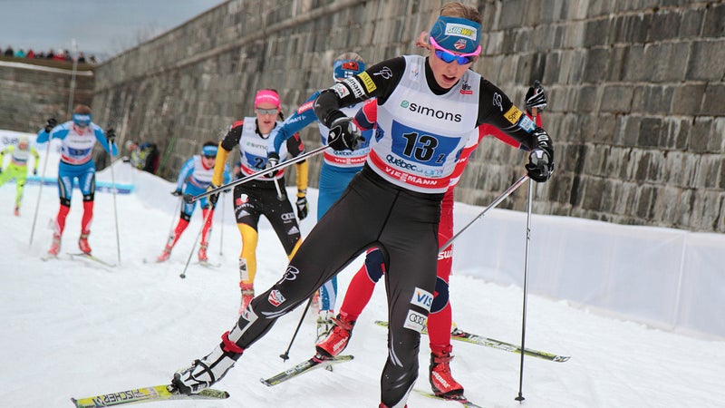 Kikkan Randall skate skiing in 2012 at the Cross-Country World Cup.