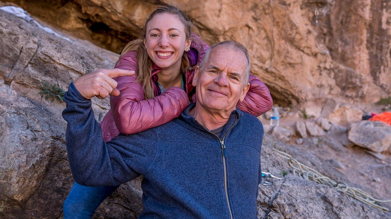 John Long, who climbed the first one-day ascent of The Nose on El Cap, was there to support Michaela Kiersch's attempt.