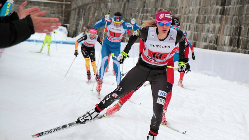 Team USA's Jessie Diggins competes in the 2012 FIS Cross-Country World Cup.