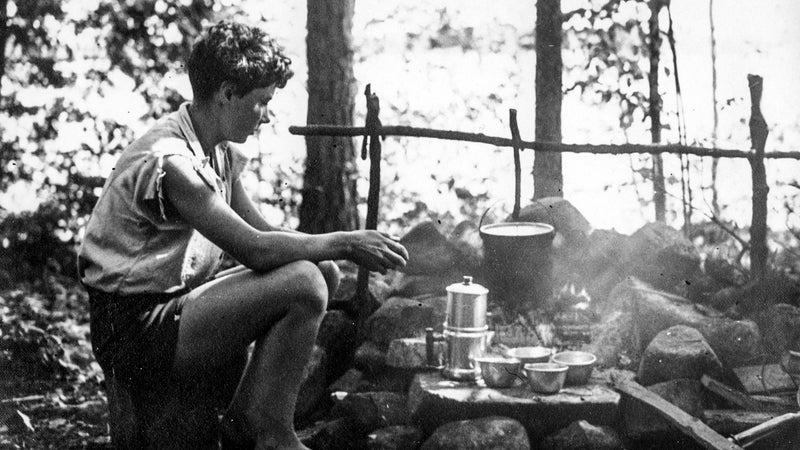 Barbara camping with Nick Rogers in Maine during the summer of 1932. Barbara left her job in New York at the height of the Depression to spend four months hiking in the newly formed Appalachian Trail.