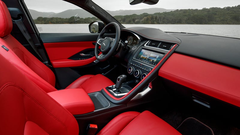 The interior is a nice, comfortable place to spend time, if a bit restrained. The red leather really helps make things more exciting in here.