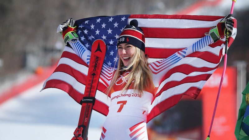 Mikaela Shiffrin after winning the gold medal in the Giant Slalom competition in PyeongChang.