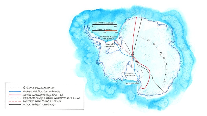 The routes used by Henry Worsley and six explorers who have successfully crossed Antarctica.
