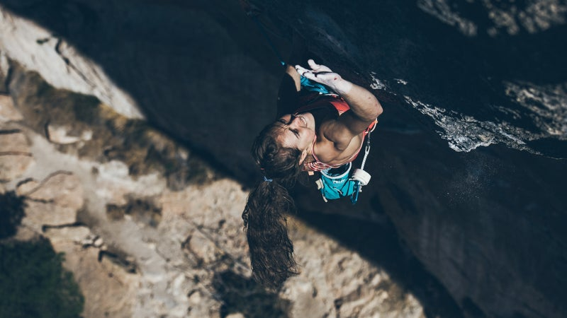 Hayes climbs into the crux sequence of La Rambla, 9a+, in Siurana, Spain. She started her ascent at around 4:25 p.m. on February 26, 2017. Applause, hoots, and hollers erupted in the canyon about half an hour later.