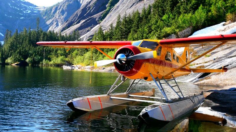 Float plane moored at Lake Manzoni, Misty Fjords National Monument Wilderness, Southeast Alaska