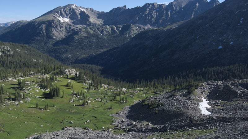 Notice the streams flowing from the base of these talus fields in Colorado's Indian Peaks Wilderness. That water is low-risk, because it's so close to the source.