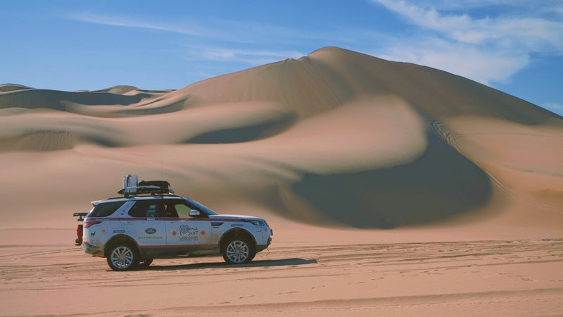 The AWD systems on most modern SUVs are incapable of crossing soft sand, but the Discovery still comes with true 4WD, low-range gearing, and an optional locking differential on the rear axle.