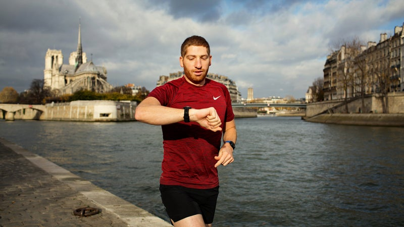 Ray Maker tests the latest wearables near his home in Paris.