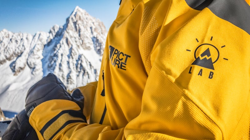 If one looks closely, the unique construction can be seen clearly—a marked departure from traditional waterproof skiing jackets and shells.