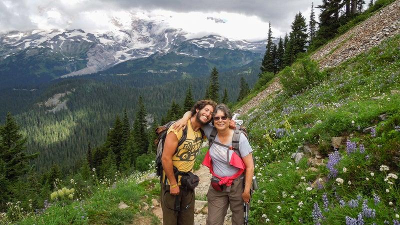 Roberts and his mom, Judy, hiking at Mount Rainier