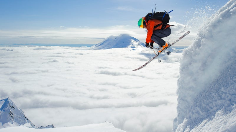 Roberts jumps from the summit of Mount Shuksan, North Cascades National Park, Washington