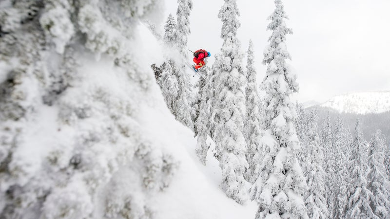 Roberts jumping a cliff in the White Pass Ski Area backcountry