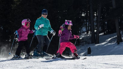 Coombs works on turns with young skiers on Snow King Mountain in Jackson, Wyoming. There are 194 skiers—95 percent of whom are Hispanic—enrolled in the foundation program this year.
