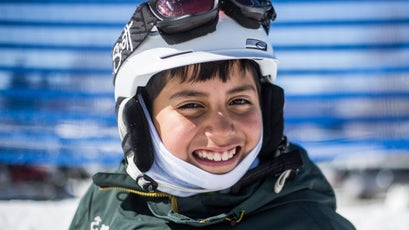 An 11-year-old participant who has been skiing with the Doug Coombs Foundation for five years.