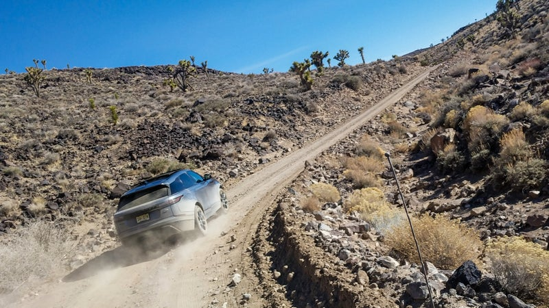 Me, driving the Velar in Death Valley. This thing is an absolute blast on rough dirt roads.