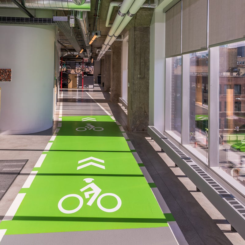 SRAM's indoor bike lane. Beyond fun, the track is used for quick testing of products.