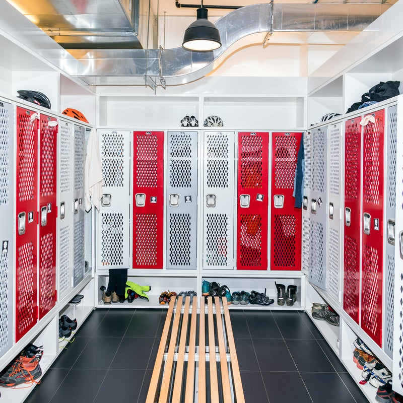 """SRAM's locker room. Connell says his team """"upped the airflow"""" to avoid the funk of SRAM's last facility."""