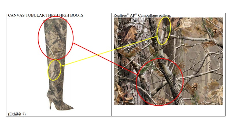 Court documents show Realtree's exact pattern on a Yeezy boot