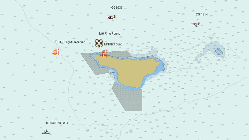 Coast Guard investigation map showing St George Island, locations of EPIRB signal and eventual recovery, life ring recovery point, and search vessels.