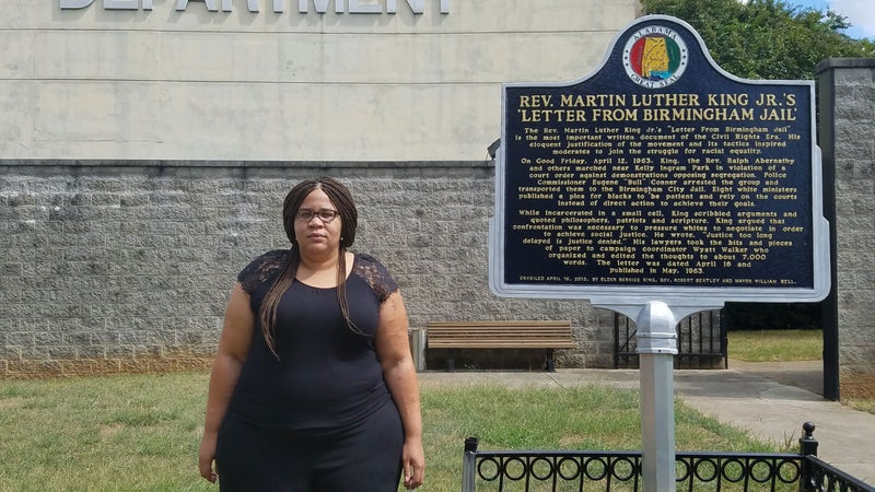 """Graham at the site where Martin Luther King Jr. wrote """"Letter from Birmingham Jail"""""""