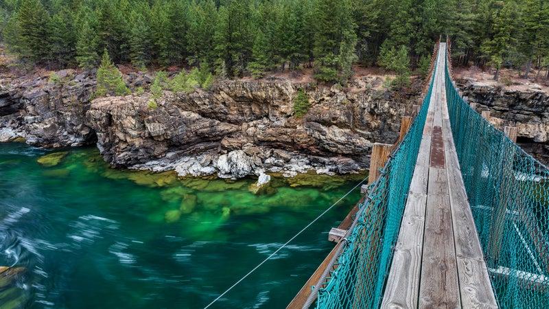 Swing bridge over the Kootenai River near Libby.