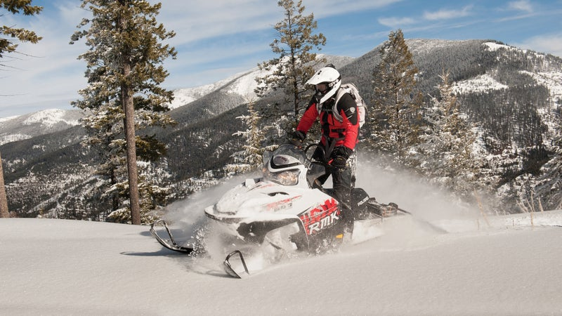 Snowmobiling in the Lolo National Forest.