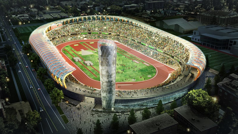 A rendering of the new Hayward Field