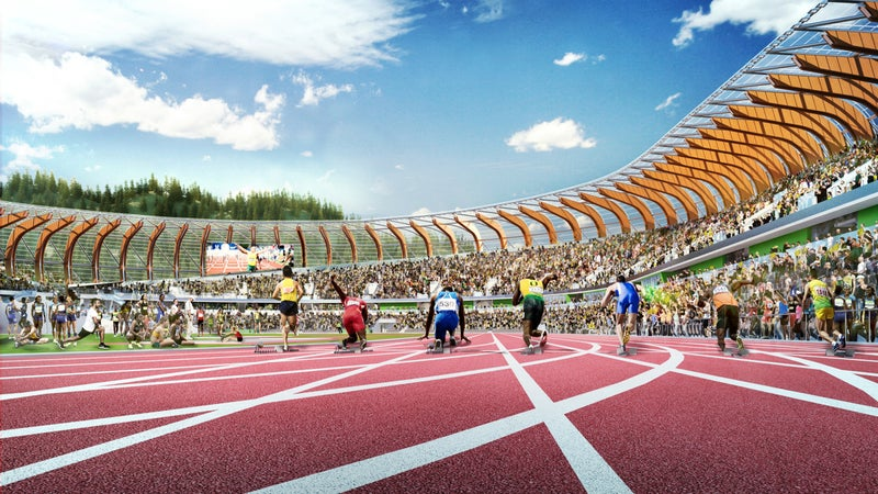 A track-level rendering of the new stadium