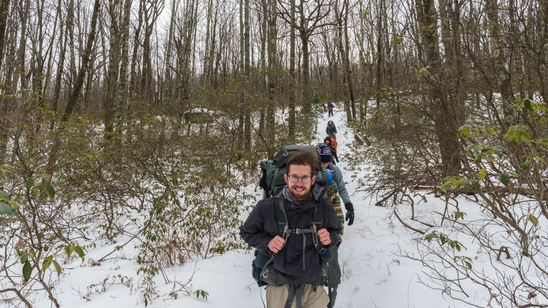 Ricky Waltz leads a hike in Sproul State Forest.