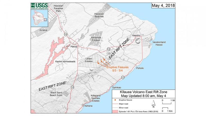This map shows the locations, mapped by USGS-HVO scientists, of the three eruptive fissures in the order that they occurred in the Leilani Estates Subdivision as of 8:00 a.m. HST today (May 4).