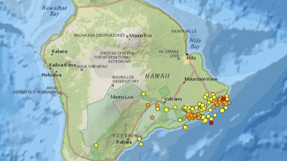 2.5 or greater eruptions on Hawaii over the last seven days.