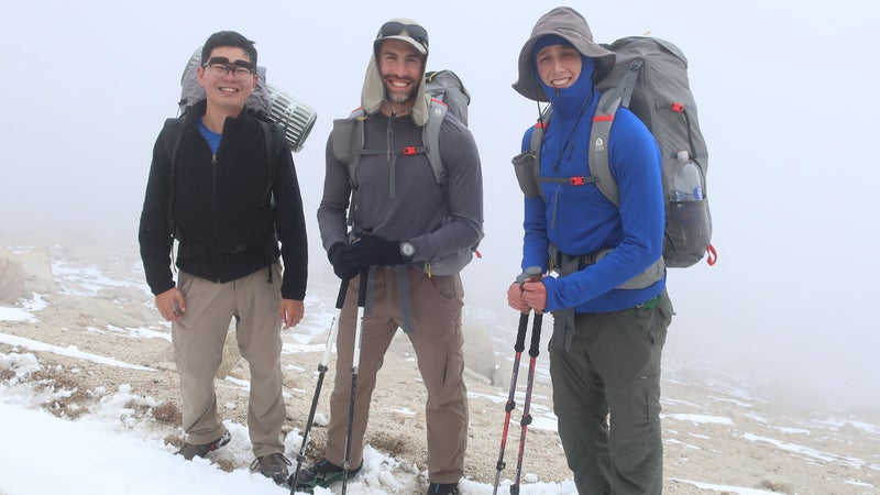 A fleece functions as a second active layer in cool and cold conditions, such as while climbing over this 12,000-foot pass in the High Sierra with several inches of new snow from the day before.