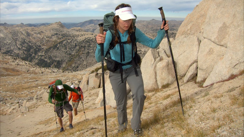 For consistently cool temps, intense sun exposure, incessant bugs, and bushwhacking, wear a long-sleeve hiking shirt, nylon trekking pants, and underwear.