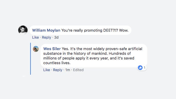 One of several similar comments that were left on that article about ticks.