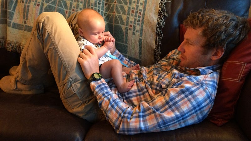 The author at home with Bridger