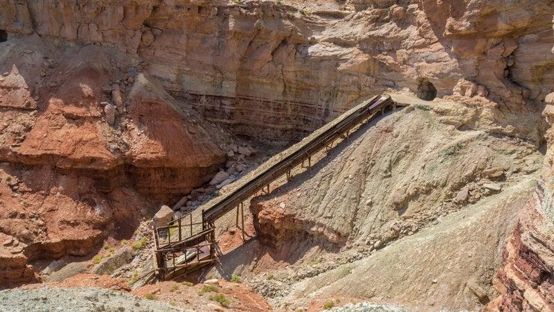 The long-abandoned Dirty Devil uranium mine in Emery County, Utah, in the San Rafael Swell, near Hondu Arch.