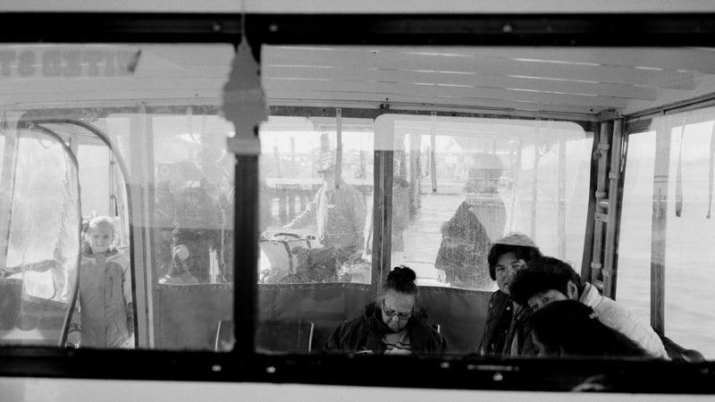 Passengers aboard the ferry Sharon Kay III