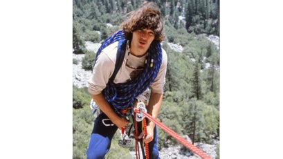 """John """"Yabo"""" Yablonski rappeling down El Cap after swapping DDT-thinned peregrine eggs with captivity raised chicks."""