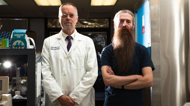 Bill Andrews (left) and Aubrey de Grey