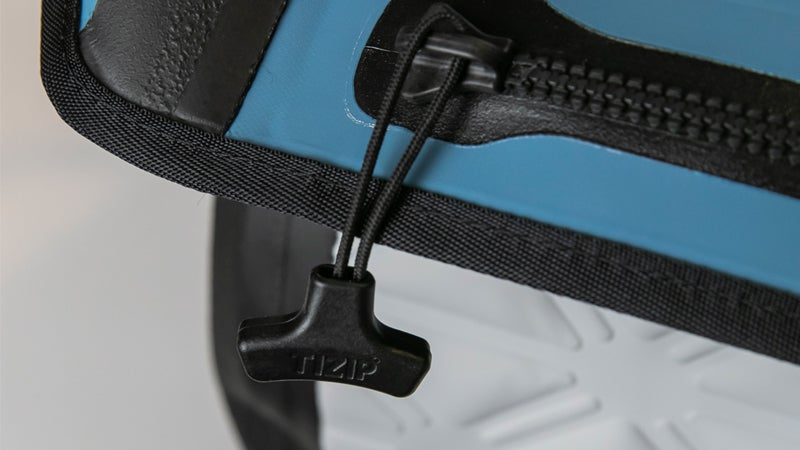 A close-up of the zipper system used on the Yampa collection