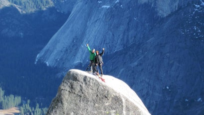 Sarah Stock and former climbing ranger Jesse McGahey on Lost Arrow Spire in Yosemite, which they climbed in order to experimentally test  the sensitivity of nearby nesting peregrines.