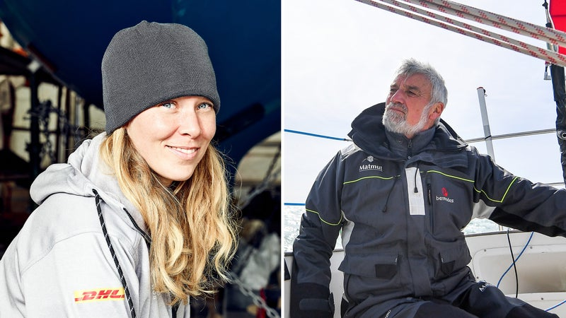 Susie Goodall (left), the sole female entrant in the 2018 Golden Globe Race, and French skipper Jean-Luc Van Den Heede.