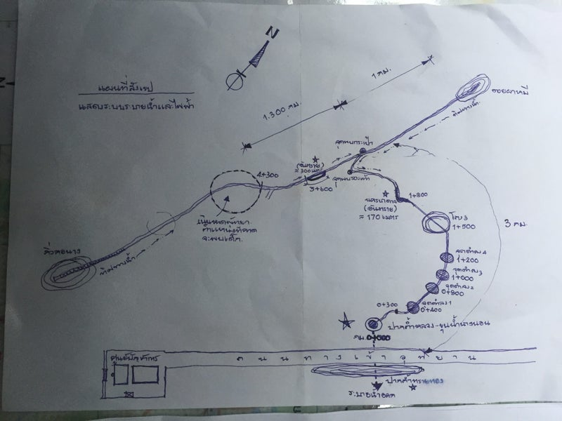 A map of the cave where the team was lost. The T-junction that Reymenants was called in to locate is visible to the right of the dotted circle.