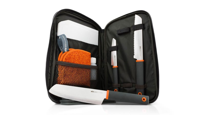 Orange and Black Camping Knife Set