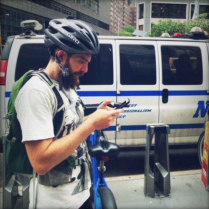 Joe Miller, hard at work rebalancing Citi Bikes in New York City.